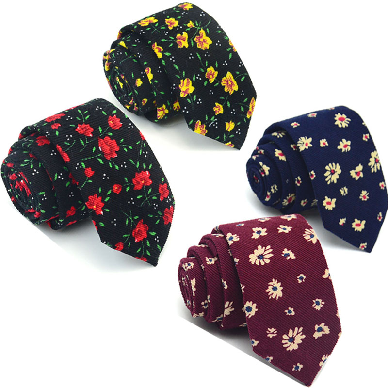 Corduroy Cotton Slim Ties for Men Floral Tie Navy Red 6CM Small 2017 Suit Accessories Gravata Slim Skinny Yellow Flower Necktie