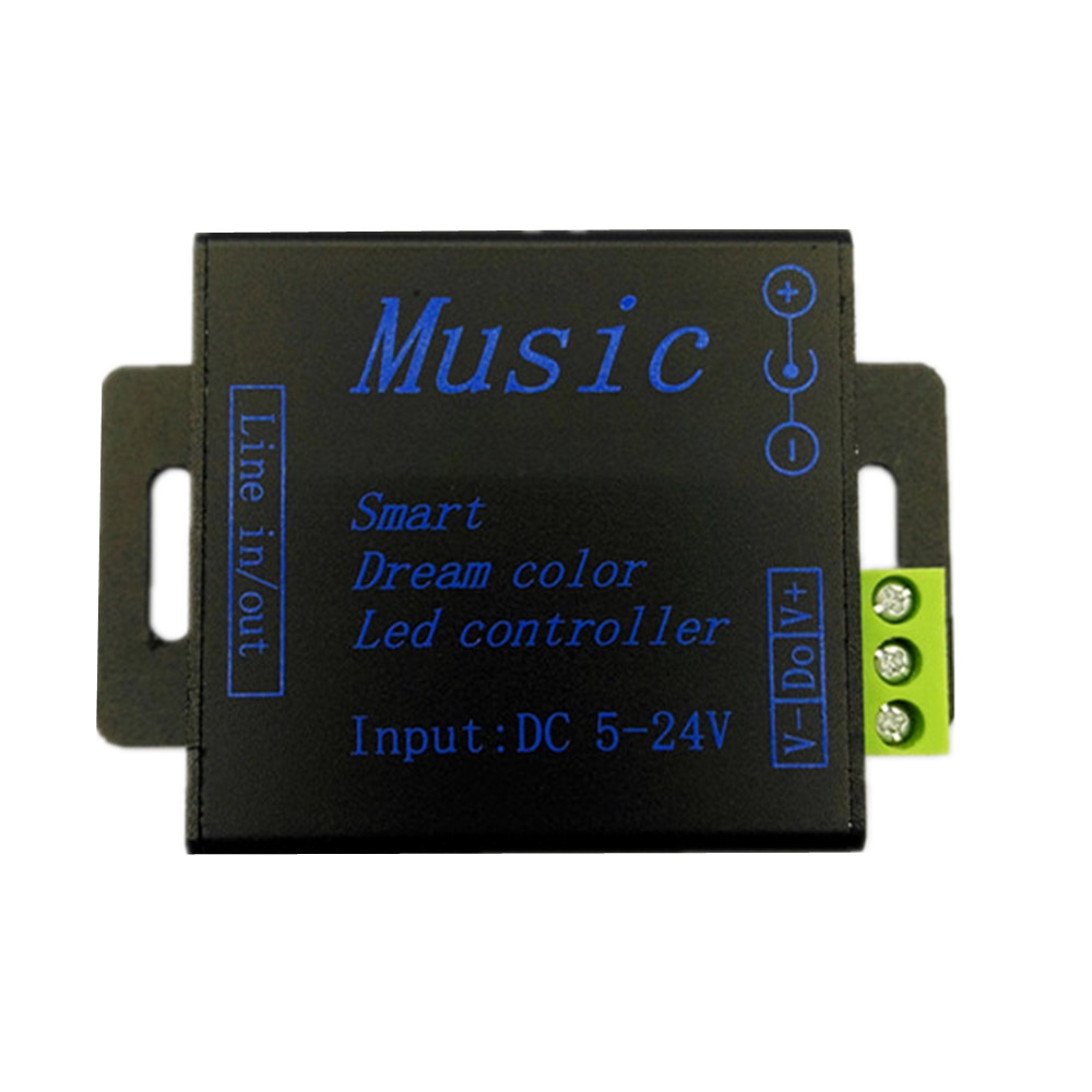 LED müzik denetleyicisi DC5V-24V SPI alüminyum RGB SMD5050 ws2811 ws2812b için Akıllı rüya renk led şerit kontrol modülleri dimmerler