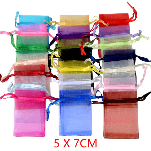 100 pçs/lote 5x7 cm Embalagens de Jóias Saco de Organza Para O Presente De Casamento de Doces Pequena Bolsa
