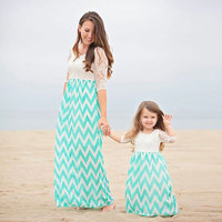 New Design Mother Daughter Dresses Family Matching Summer Outfits Lace Patchwork Waves Printed Parent Child Beach