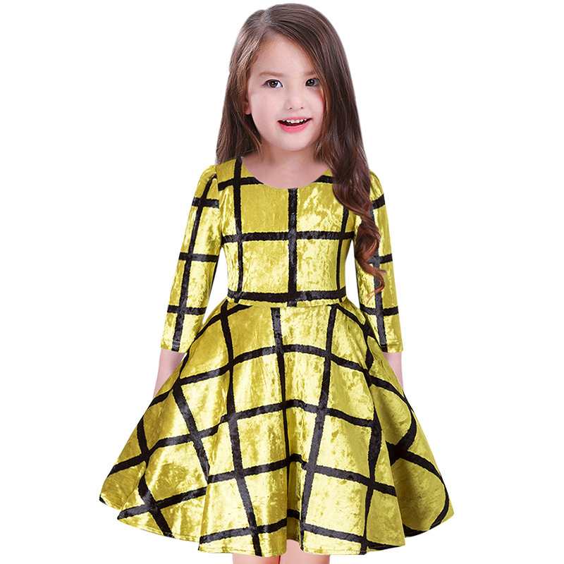 2018 Brand Girls Spring Autumn Long Sleeve Gold velvet Dress Kid School Cute Fashion Princess Perform Dress  Kid Dress Hot Sale kid girls sweater lace dress 2018 spring