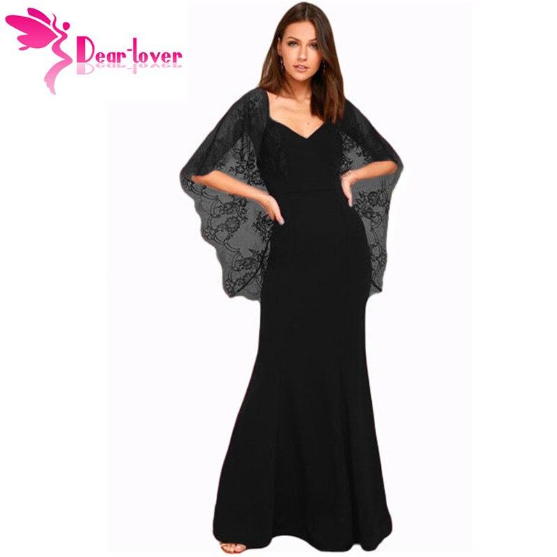 Dear Lover длинное платье элегантные черные/красные вечерние платья с V образным вырезом кружевное с открытой спиной накидка с длинным рукавом п...
