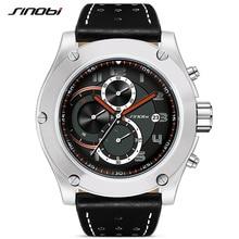 SINOBI хронограф Wacth мужские спортивные наручные часы Дата Водонепроницаемый мужчины Женева кварцевые часы военные Гора Relogio Masculino