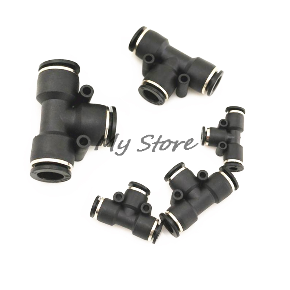 5Pcs High quality Black PE 4 6 8 10 12mm Pneumatic Tee Union Connector Tube Air Fitting free shipping 30pcs peg 10mm 8mm pneumatic unequal union tee quick fitting connector reducing coupler peg10 8