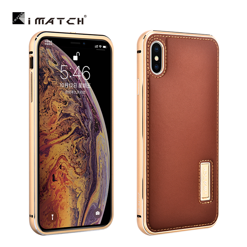 Original iMatch Metall Fall Für iPhone XS MAX Coque Echtem Leder Fall Für iPhone X XS MAX Aluminium Metall Stoßstange zurück Abdeckung