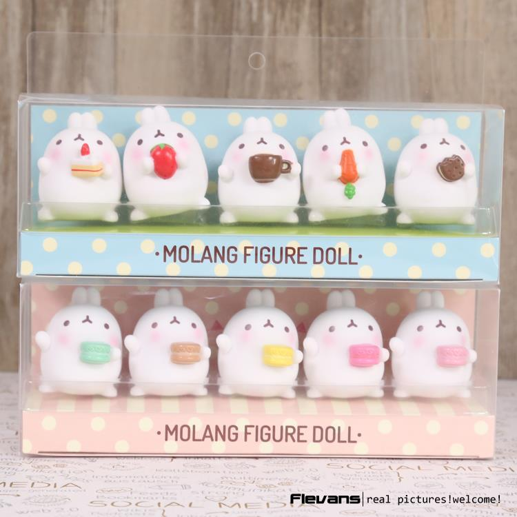Lovely Cute Molang Rabbit PVC Figure Model Toys Dolls Pendants Kids Toys Gifrs Gifts 5cm 5pcs/set 2 Styles
