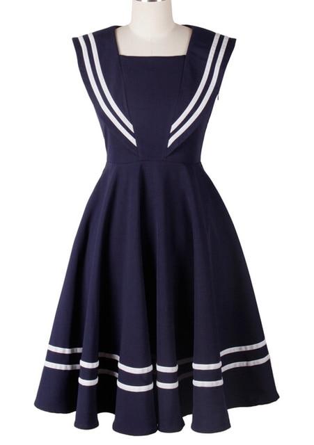 1950s 50s Vintage Rockabilly Sailor Dress Navy Blue In
