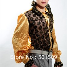 Free shipping fan collar prince stage sequins decoration mens tuxedo shirts party/event shirts latin dance performance shirts