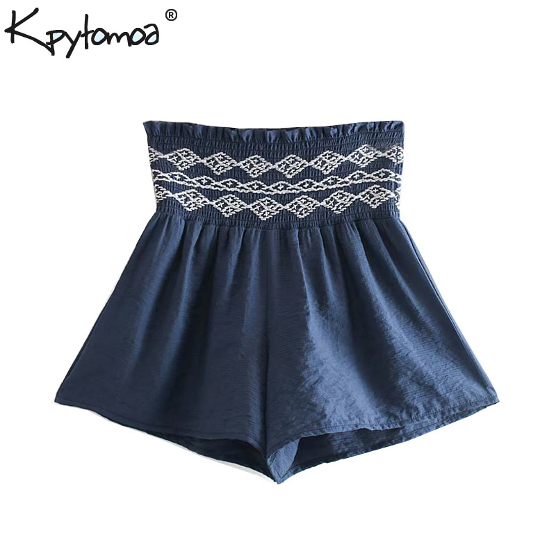 Vintage Chic Smokced Embroidery   Shorts   Women 2019 Fashion High Waist Elastic Waist Ladies   Short   Pants Casual Pantalones Cortos