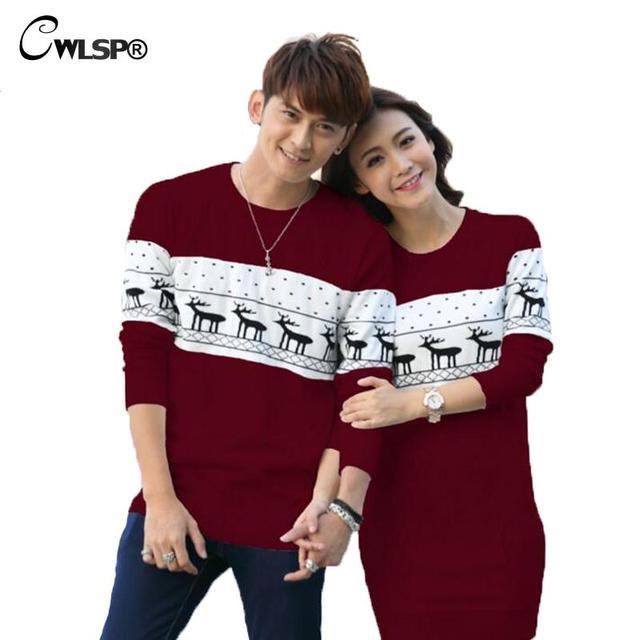 O melhor Presente para o Dia Dos Namorados Amante Dos Desenhos Animados Casais Camisola Primavera das Mulheres Camisola de malha Vestido de Pullovers Veados Plus Size ZLY049