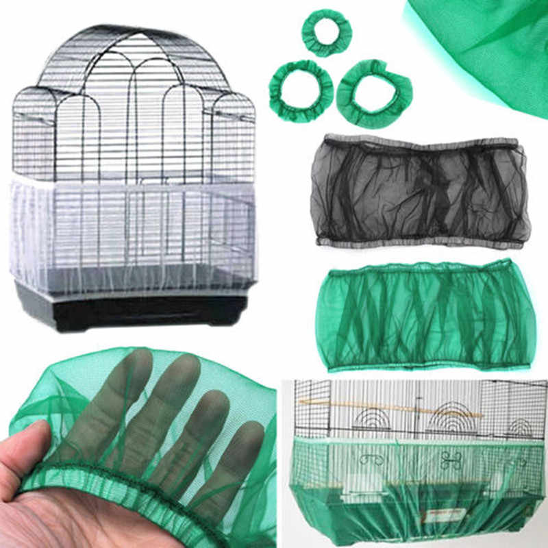Mesh Receptor Seed Bird Parrot Cover Soft Easy Cleaning Nylon Airy Fabric Mesh Bird Cage Cover Catcher Bird Supplies
