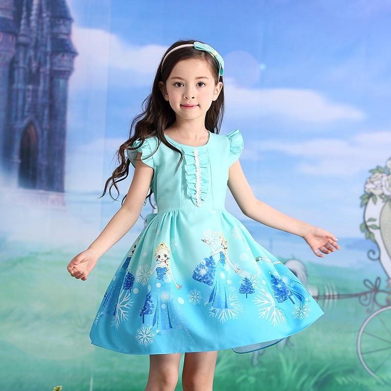 2018 Girl Summer Dress Kids Sleeveless Printing Pattern Dress Anna Princess Party Dress For Girls Children Clothes.YL03B