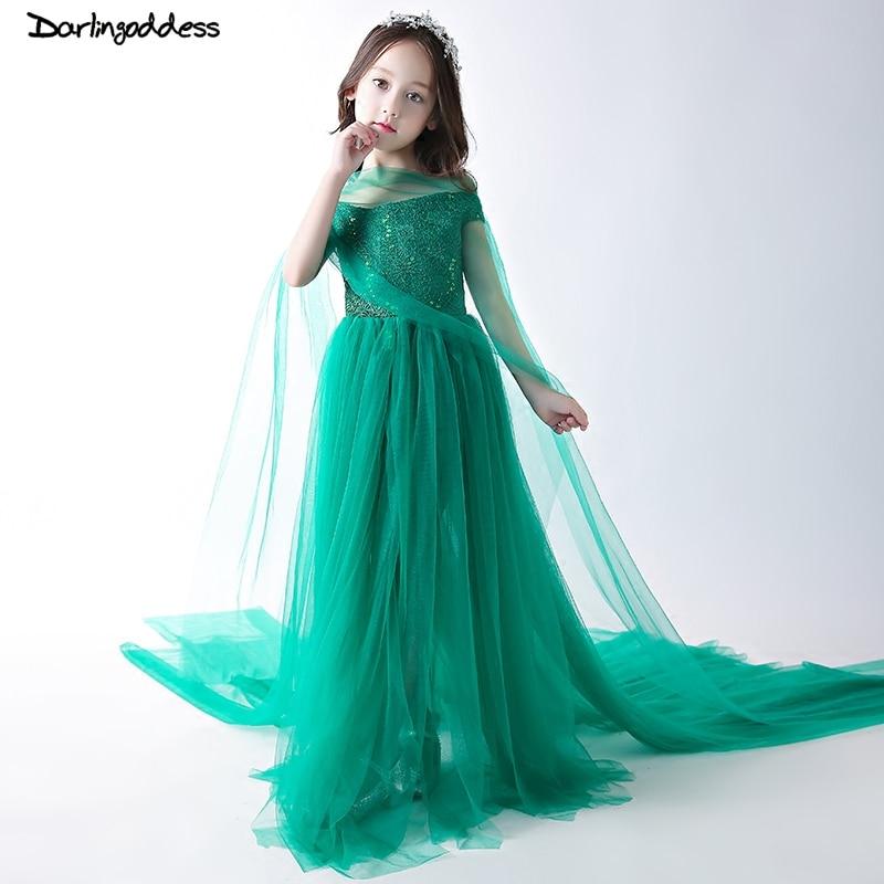 Green Luxury Flower Girl Dresses Sequined Kids Pageant Dress