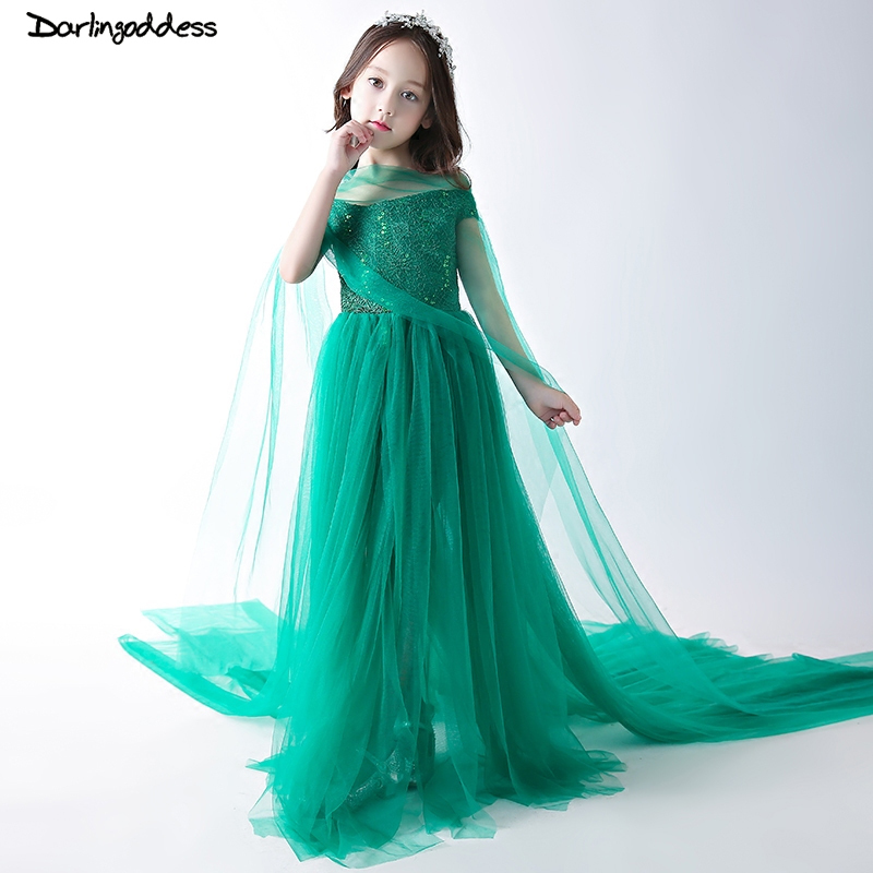 Green Luxury   Flower     Girl     Dresses   Sequined Kids Pageant   Dress   Birthday Show   Girl   Formal Prom   Dresses   Evening Gown with Long Train