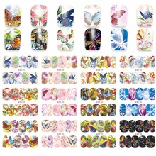 12 Sheets/lot (in big one )#BN Nail Art Transfer Stickers Water Butterflies Slide Decals Tattoos Trendy Fashion Popular Cartoons