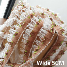 5CM Wide Luxury Coffee Pleated Chiffon Lace Fabric Sewing DIY Neckline Collar Applique Ruffle Trim Dress Guipure Supplies Border