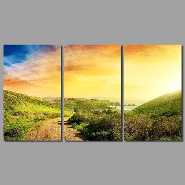 3pcs seascape decoration sun wall art pictures sunrise landscape ...