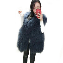 2017 New Beach wool vest the full pelt women long section of fur lambs wool vest jacket mongolia sheep fur vest waistcoat