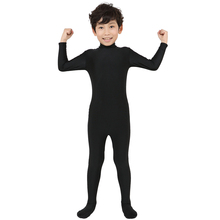 2018 free shipping black Bodysuit covered foot, hand free version Lycra Zentai Suit Pure Color Halloween Party Unitard
