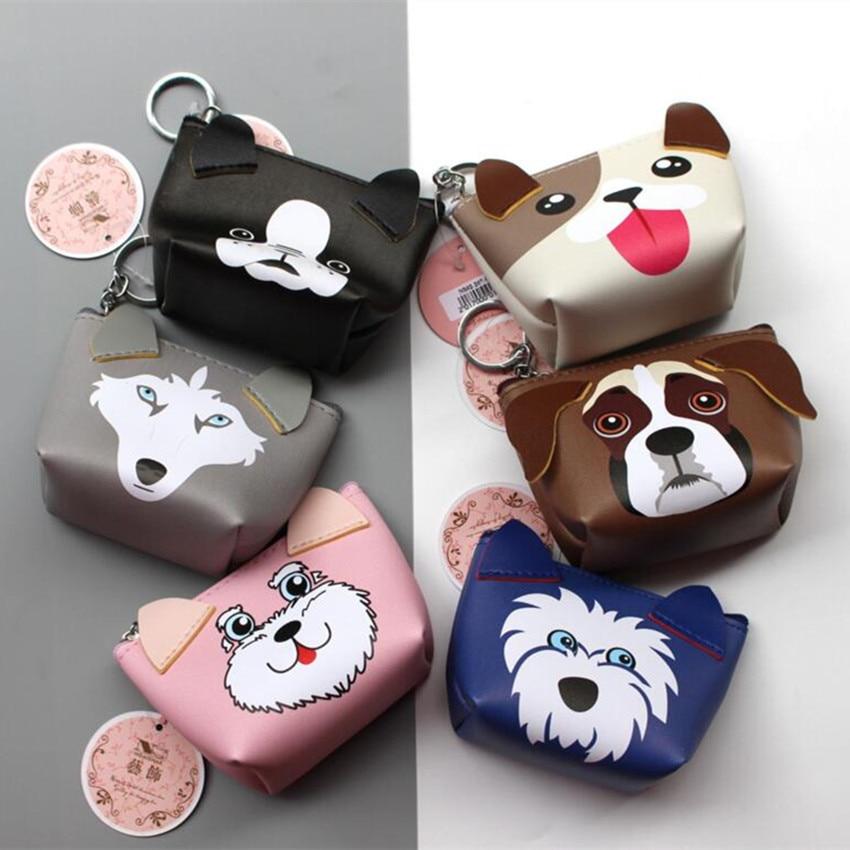 M185 Cute Design Women Purses Cartoon Pattern 3D Dog Carry Small Change Coin Bag Key Ring Mini Cute Cloth Bag cute cartoon pattern cloth sisal hemp felt pad for cat blue khaki small