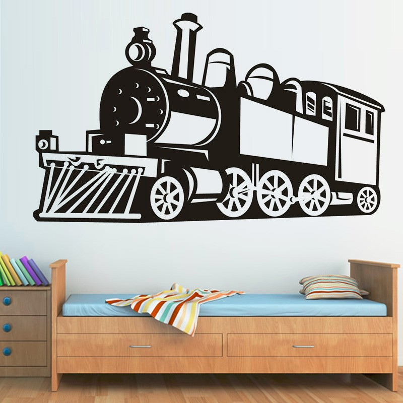 New Arrival Free Shipping Diy Wallpaper Creative Wall Decor Vinyl Hollow  Out Steam Train Wall Stickers