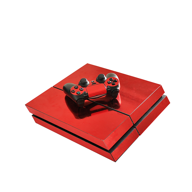 HOMEREALLY Chrome Red PS4 Skin Vinyl Sticker Full Cover For Sony Plsaystation 4 Console and Controller PS4 Skin Game Accessory