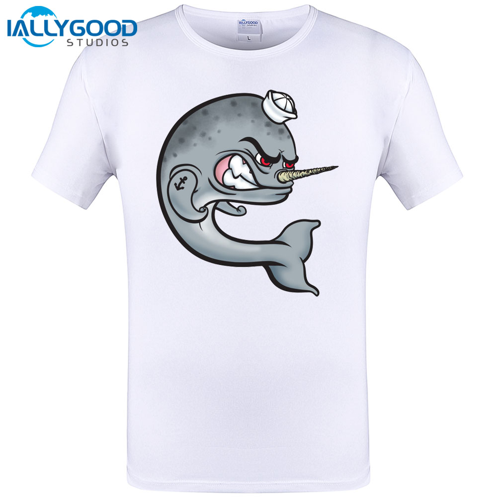 2017 Summer Latest Brand Fish T Shirt Fashion Personality Men Angry Narwhal T-Shirts O-Neck Short Sleeve Tops Modal White Tees
