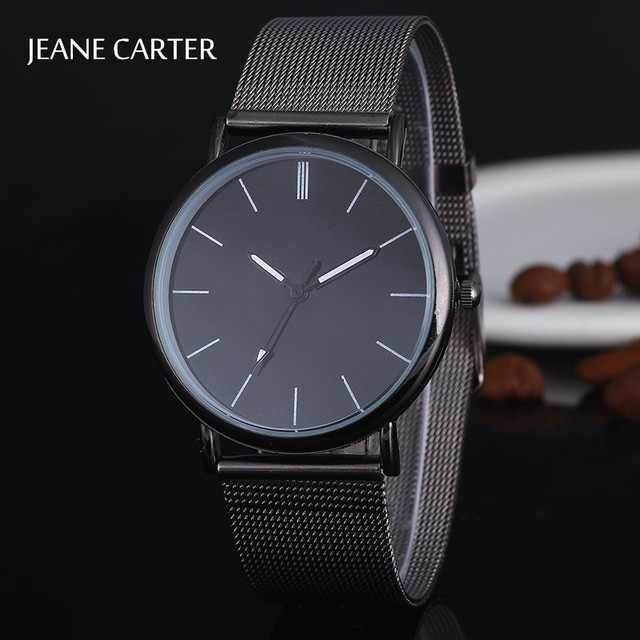 Dropshipping 2018 Mens Watches Top Brand Luxury Women Watch Black Stainless Stee