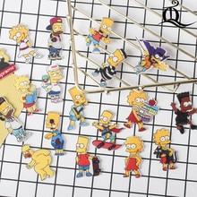 1 PS Симпсоны мультфильм значок значки на булавке акриловые Значки на одежду брошки каваи брошь из ПВХ для ткани и сумки Z77