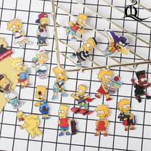 1 PS Simpsons Cartoon Badge Icons on The Pin Acrylic Badges Badges for Clothing Kawaii Brooches Pvc Brooch for cloth and bag Z77