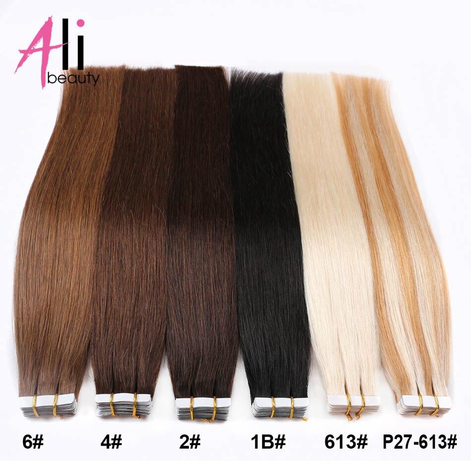 Ali fita da beleza em extensões de cabelo humano máquina brasileira remy em linha reta no adesivo invisível 20 pçs da pele trama fita do cabelo humano