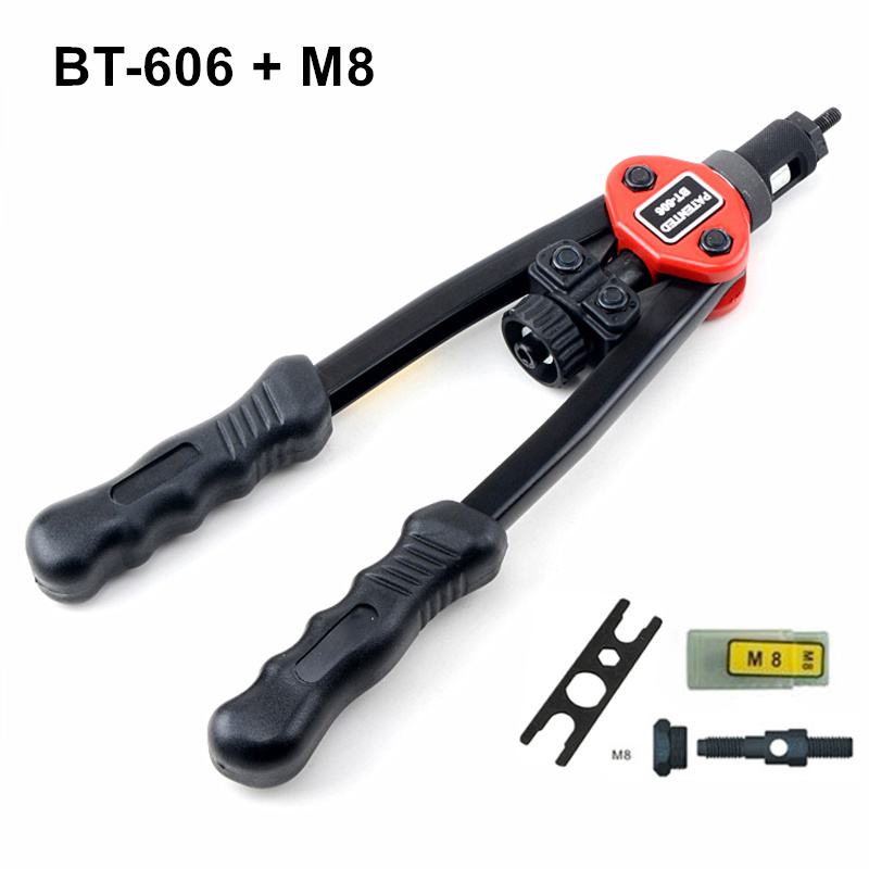 Hot sales high quality hand riveter pull rivet nut riveting tools with one M8 die free shipping BT-606 high quality 440mm 17 inch hand riveter pull rivet nut riveting tools with one die of m3 free shipping bt 604 auto remove nut