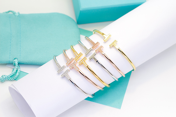 316 L Stainless Steel Brand fashion Jewelry rose Gold Silver Color Luxury Adjust CZ Bracelet Lover Cuff bangle for Woman Man