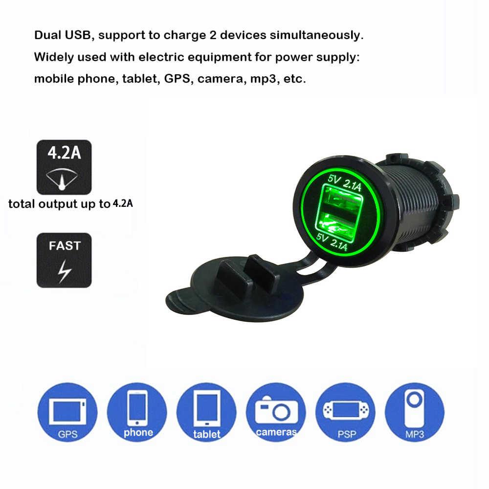 Universal Cigarette Lighter Car Charger USB Vehicle DC12V-32V Waterproof Dual USB Charger 2 Ports Power Socket 5V 2.1A/2.1A