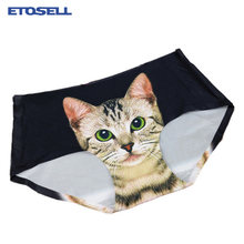 19e06b8accce Sexy Pussycat Women's Panties Funny Female Anti-emptied 3D Cat Printed  Lingerie Seamless Panties for Women White Black Underwear