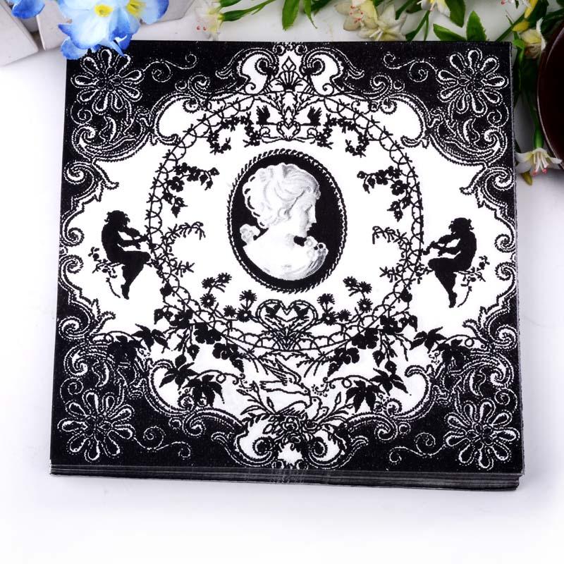 Classic Black and White Angel Paper Napkins Cafe & Party Tissue Napkins Decoupage Decoration Paper 33cm*33cm 20pcs/pack/lot