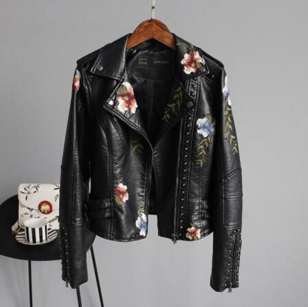 New 2019 Women Floral Print Embroidery Faux Soft   Leather   Jacket Coat Turn-down Collar Casual Pu Motorcycle Black Punk Outerwear