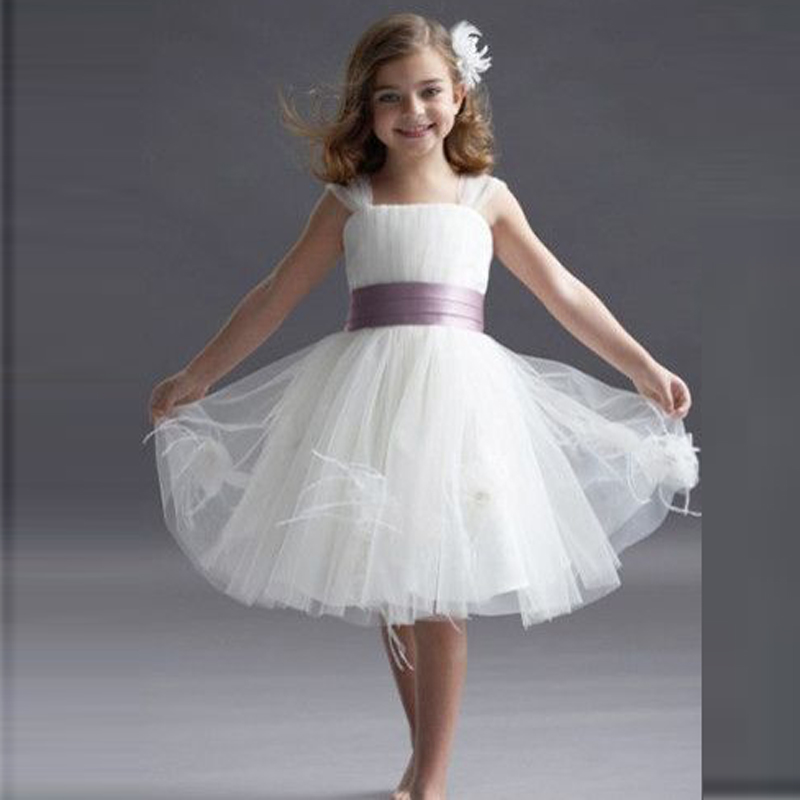 Flower Dresses With Purple Ribbons