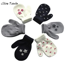 ISHOWTIENDA Print baby gloves kids winter gloves for children mittens-nurseries-winter newborn mittens-nurseries guantes bebe(China)
