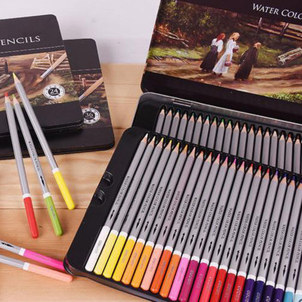 24 36 48 72 colored pens pastel pencils professional drawing tools writing supplies watercolor lead water-soluble Mixed color