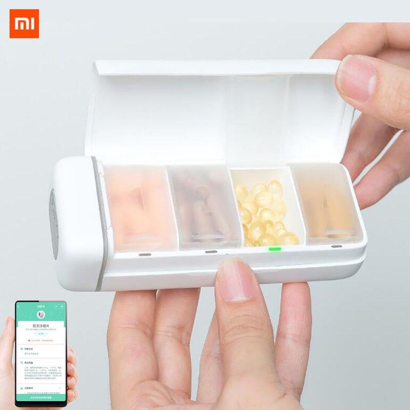 Xiaomi HiPee Smart Reminder Travel Pill Case Splitter Pill Organizer 4 Grid Medicine Container Storage Box