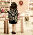 2017 Spring/Summer Clothes Fashion Girls Black and white Geometric Argyle Knitwear Shawl For 2-6Y Kids Children As Gift
