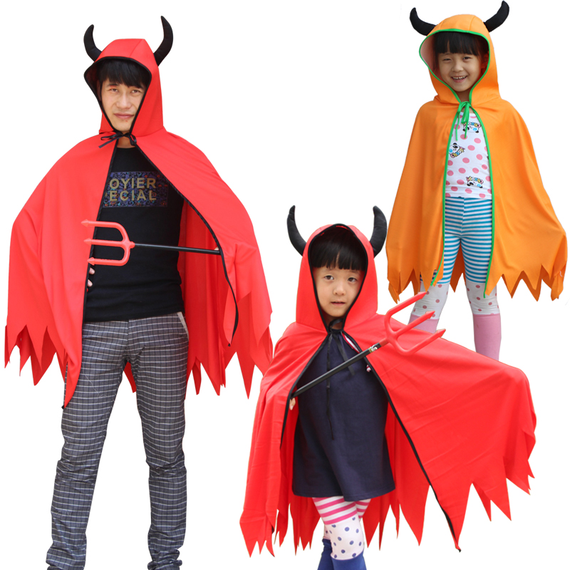 Free shipping Halloween Devil's Cloak Boys Girls Horns Red Cloak Masquerade Makeup Cosplay Costumes Party Supplies dress up