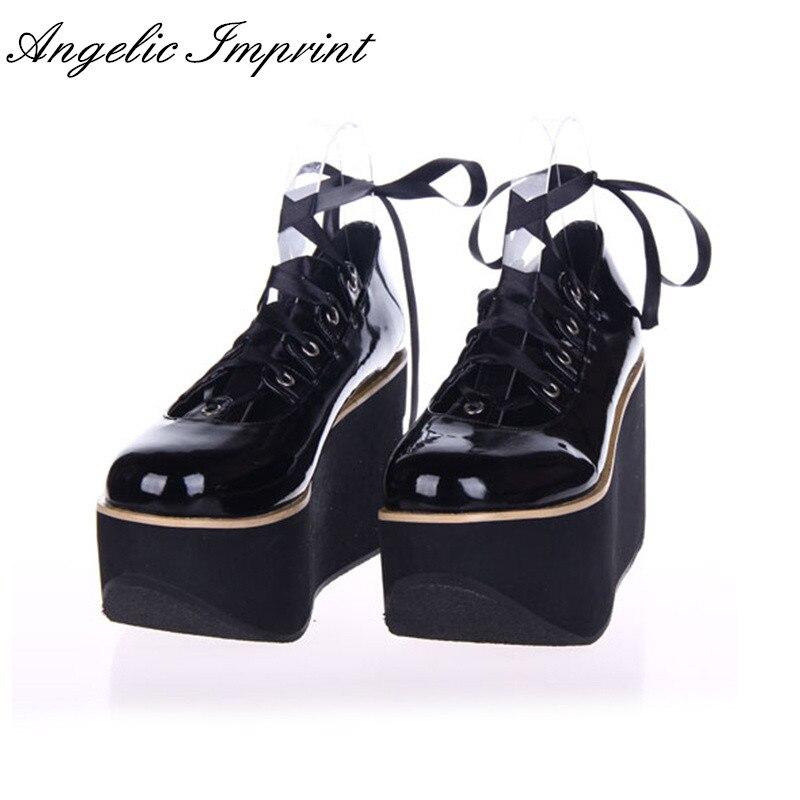 Black/White Thick Platform Wedge Ribbon Lace-up Sweet Girl Princess Lolita Shoes white sweet delicate lace panties