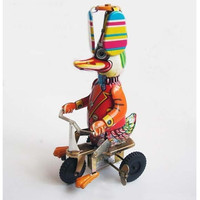 Funny Duck Riding Bicycle Model Vintage Clockwork Toys,Wind Up Toy Collectible Tin Toys for Children Gift