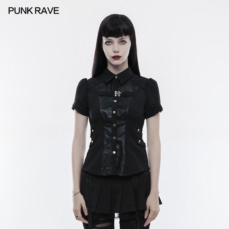 Punk Rock moda na co dzień czarny przystojny top kobiety osobowość szkoły krótkie rękawy lato koszulka Cosplay WY827 w Koszulki od Odzież damska na  Grupa 1