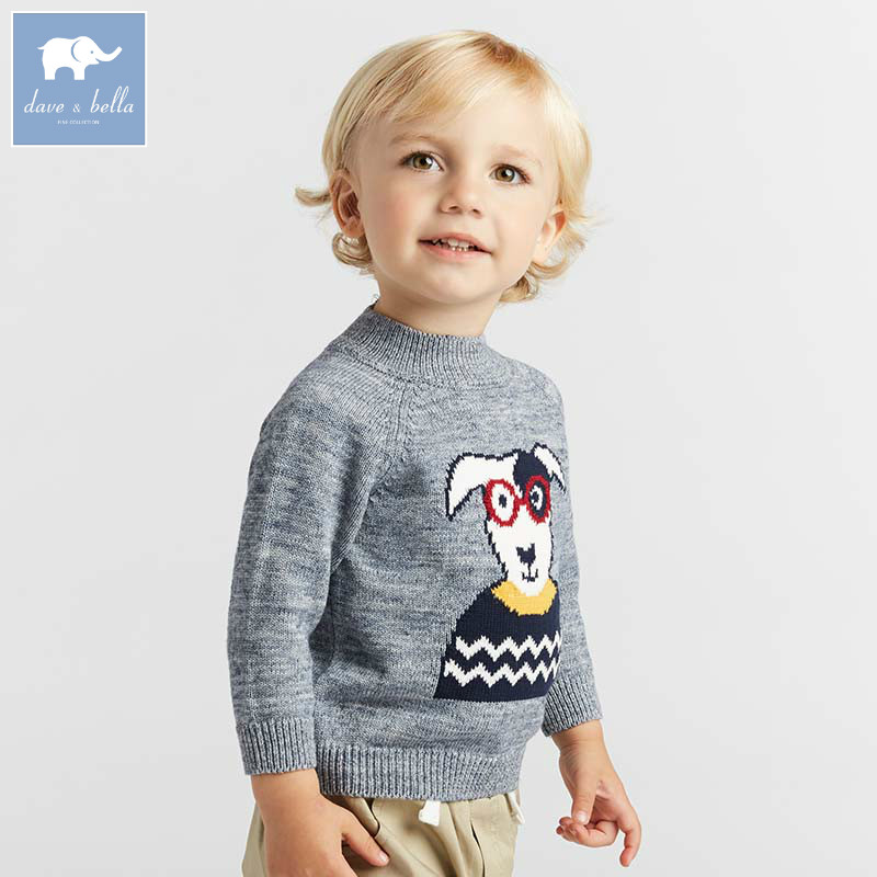 DBA7793 dave bella baby boys sweater children print knitted sweater kids autumn pullover toddler boutique tops rabbit print pullover