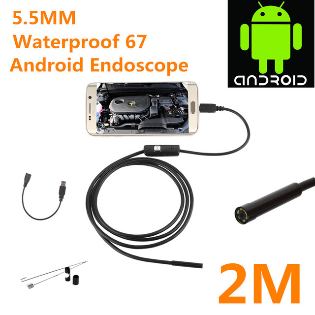 US $9 3 8% OFF| Lens HD 720P 2M 5 5mm USB Endoscope Waterproof 6 LEDs  Inspection Pipe Endoscope Camera Borescope For Android Phone -in Software  from