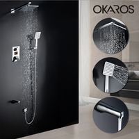 OKAROS Bathroom 3 Functions LED Digital Display Shower Mixer Tap Set Chrome Bathtub 8 Inch Waterfall