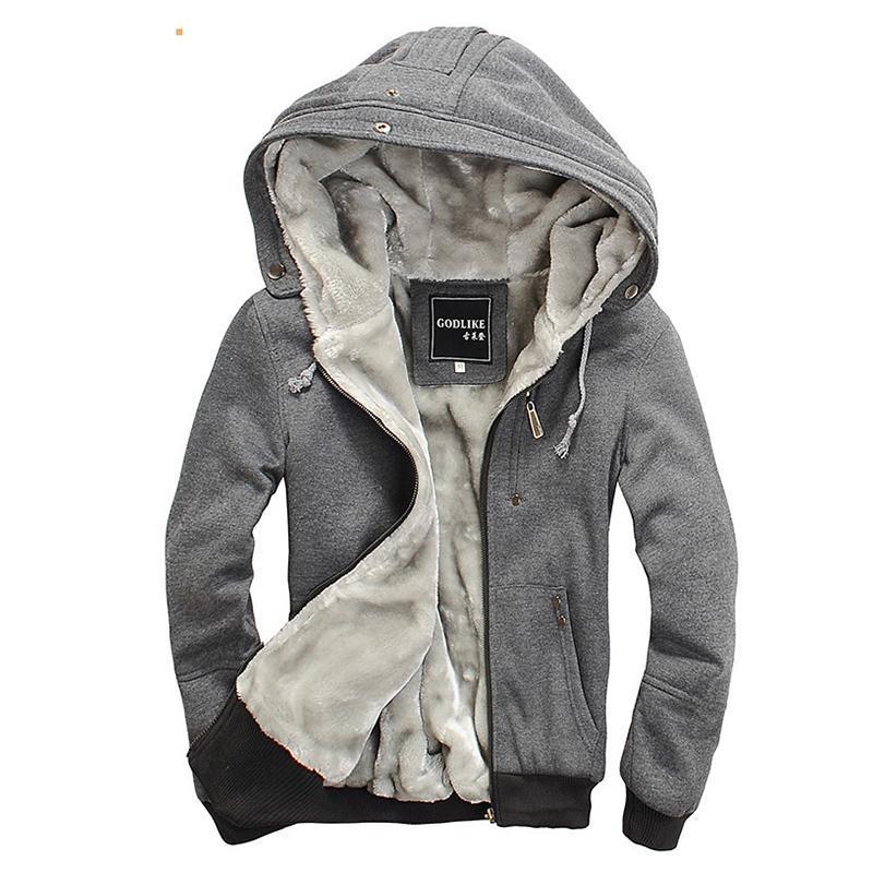 Mens Fur Lined Hoodie Cotton Hooded Warm Jackets Hoodies -6117